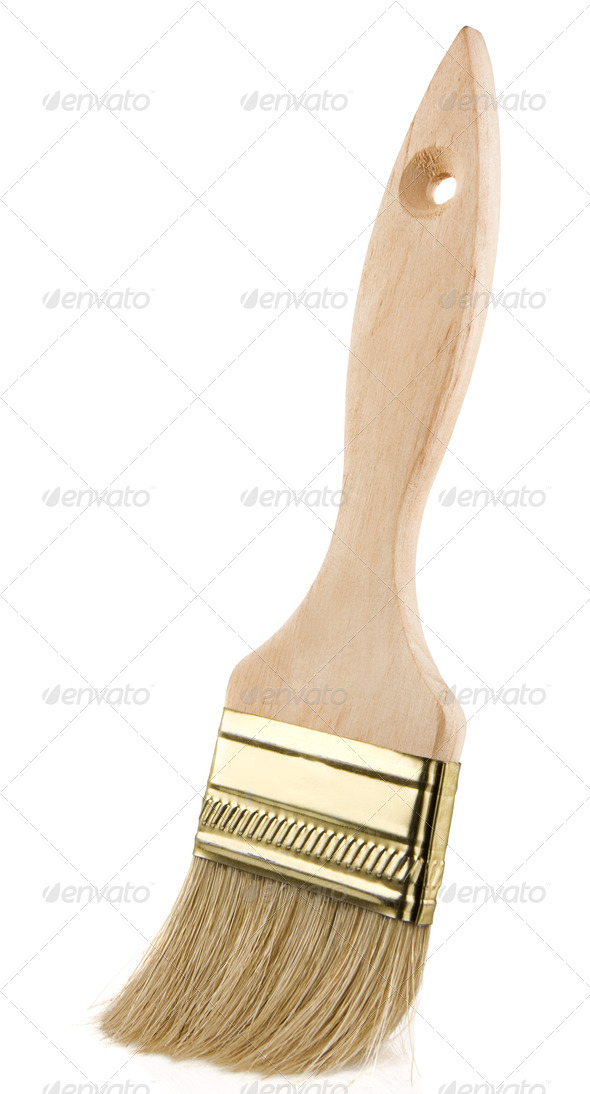 wood paintbrush isolated on white background - Stock Photo - Images