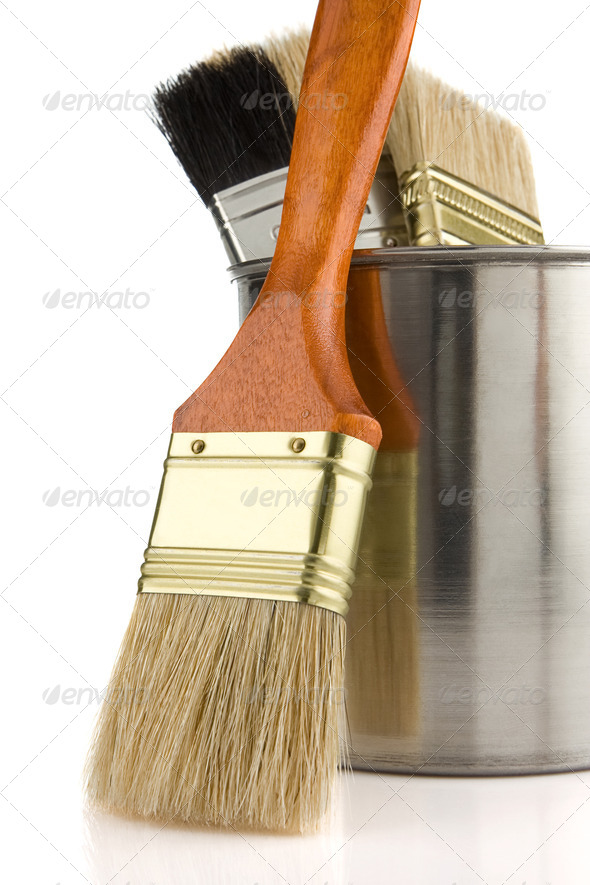 paint bucket and brush isolated on white - Stock Photo - Images