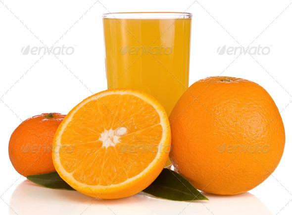 juice and orange on white isolated on white - Stock Photo - Images