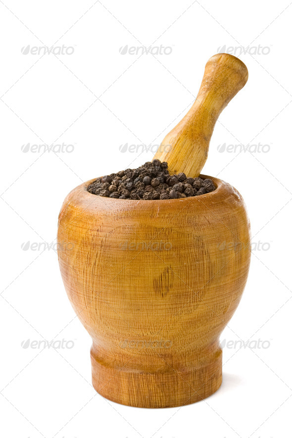 pepper in mortar and pestle isolated on white - Stock Photo - Images