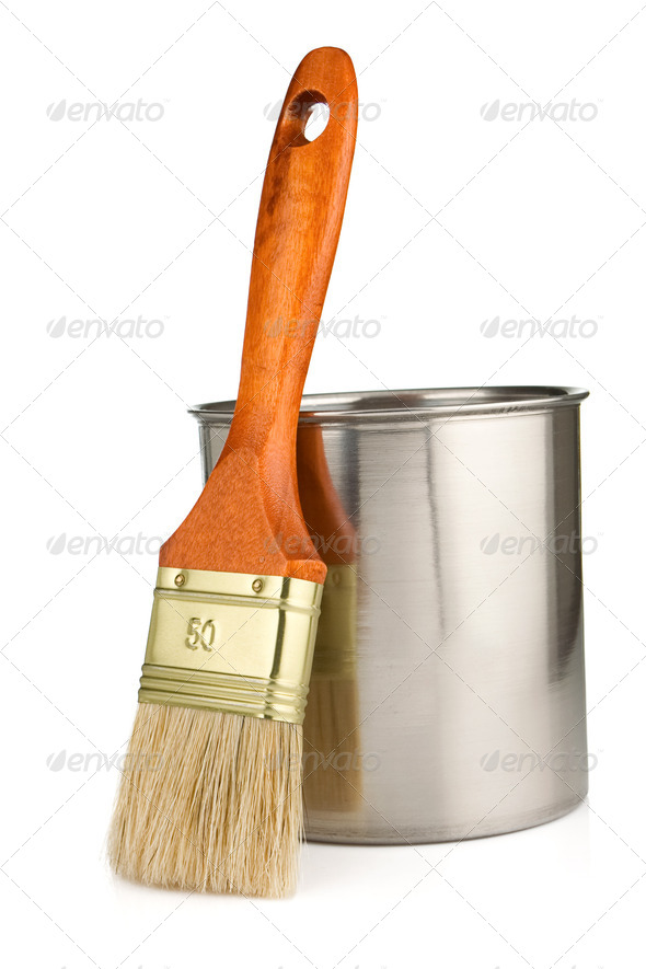 paint bucket and paintbrush isolated on white - Stock Photo - Images