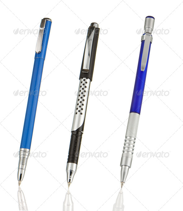 blue and black shining pens isolated on white - Stock Photo - Images