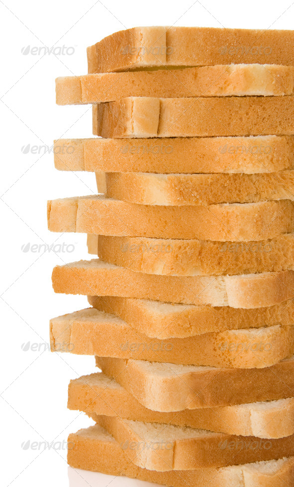 sliced loaf of bread isolated on white - Stock Photo - Images