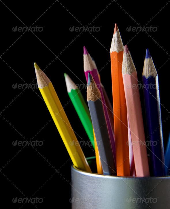 holder basket full of pencils on black - Stock Photo - Images