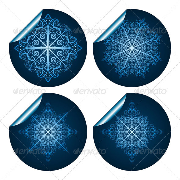 4 Stickers with Snowflakes - Christmas Seasons/Holidays