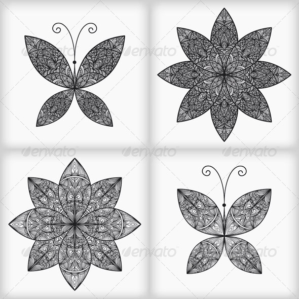 Vector Set with 2 Butterflies and 2 Flowers - Decorative Symbols Decorative