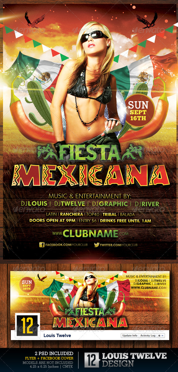 Fiesta Mexicana | Flyer + Facebook Timeline Cover - Clubs & Parties Events