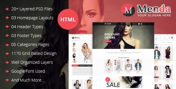 Extraordinary Menda - eCommerce Html Template