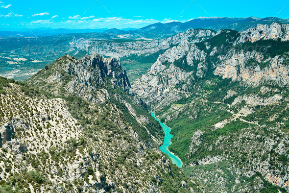 Gorges du Verdon canyon and river aerial view. Alps, Provence, France. - Stock Photo - Images