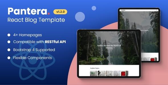 Pantera - Creative React Blog Template with RESTFul API