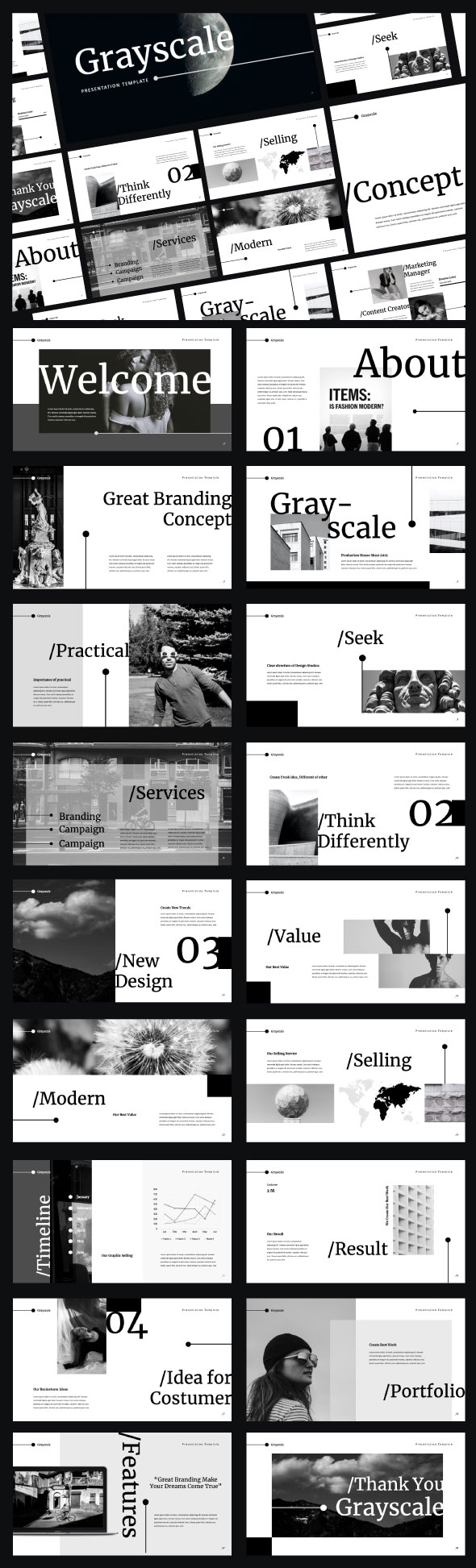 Grayscale Powerpoint Presentation Template