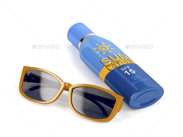 Sunglasses and sunscreen - Stock Photo - Images