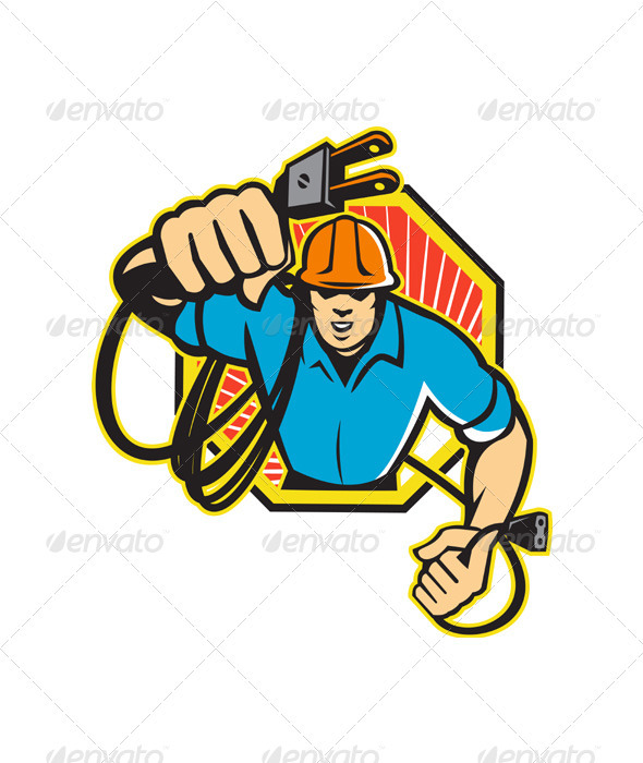 Electrician Construction Worker Retro - Industries Business