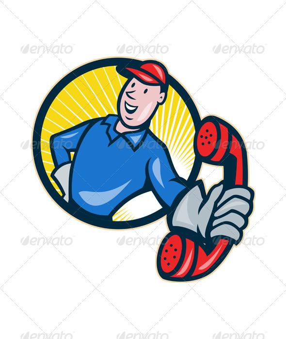Telephone Repairman Worker Phone Circle - Industries Business