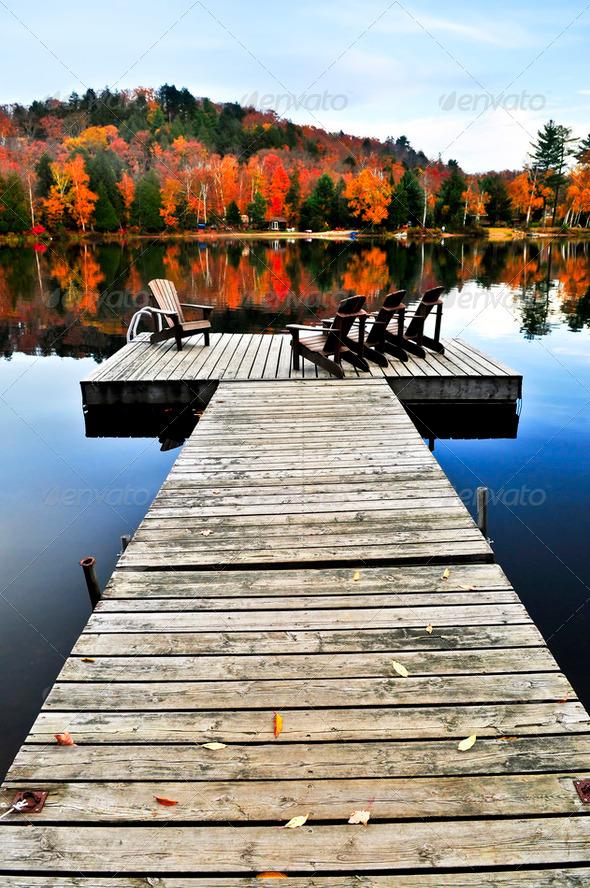 Wooden Dock On Autumn Lake - Stock Photo - Images