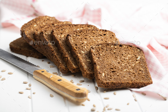 Dieting cereal bread with sunflower seeds - Stock Photo - Images