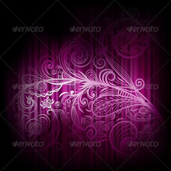 Vector Background with Abstract Branch - Flourishes / Swirls Decorative