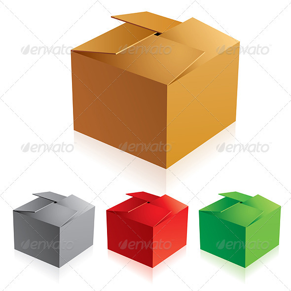 Closed color cardboard boxes - Man-made Objects Objects