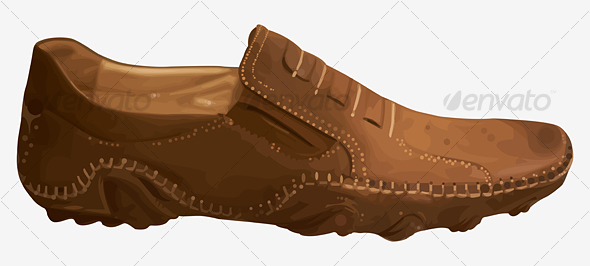 Casual Contemporary Leather Shoes Brown Color  - Objects Vectors