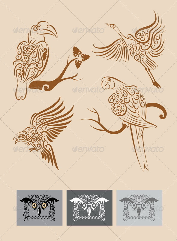 Birds vector ornament - Decorative Symbols Decorative