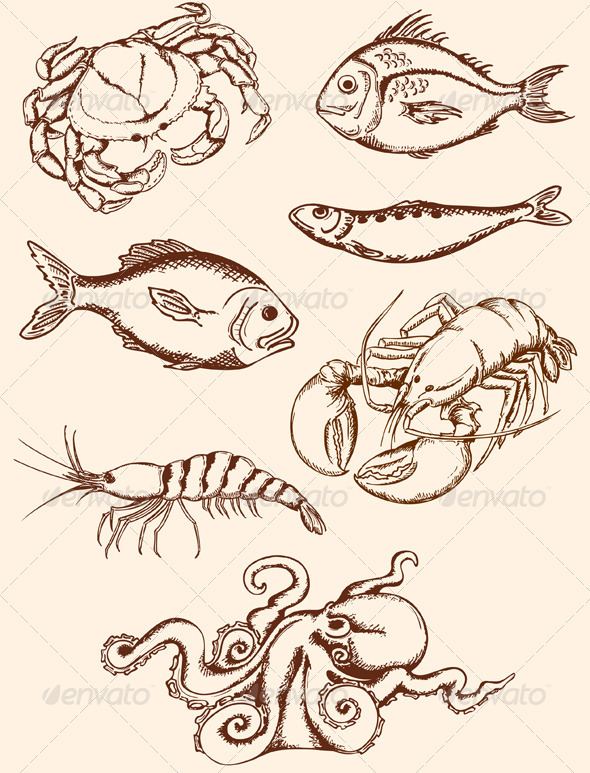 Hand Drawn Seafood Icons - Animals Characters