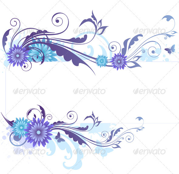 Floral Background with  Blue Flowers - Backgrounds Decorative