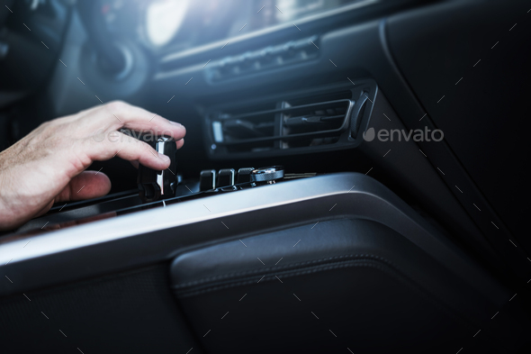 Changing Vehicle Gears in the Modern Car Interior - Stock Photo - Images