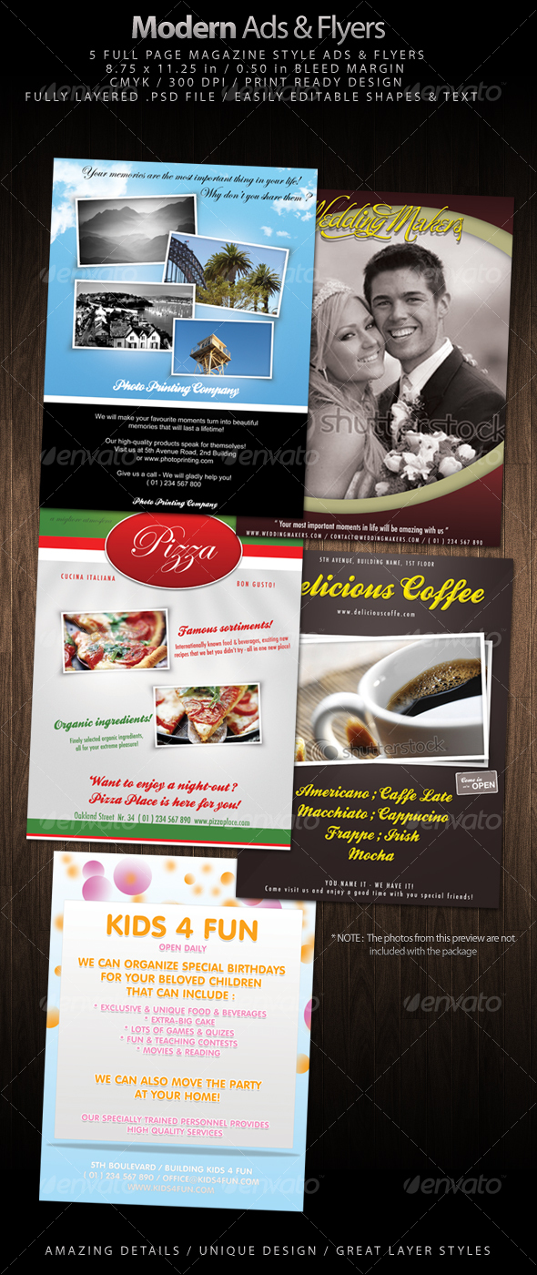 5 Magazine Style Modern Ads & Flyers - Commerce Flyers