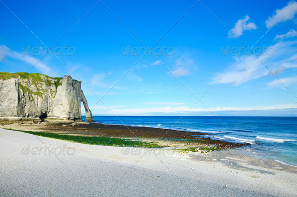 Etretat Aval cliff landmark and its beach. Normandy, France. - Stock Photo - Images