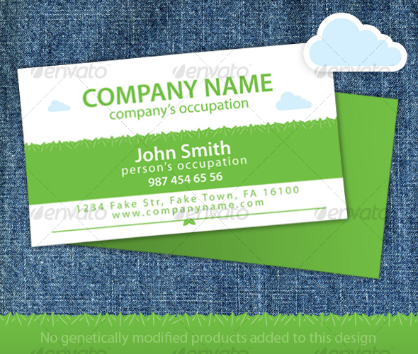 Green Leaves Organic Food Store Business Card - Industry Specific Business Cards