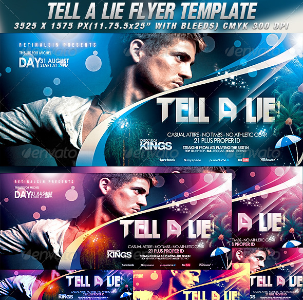 Tell A Lie Flyer Template - Clubs & Parties Events