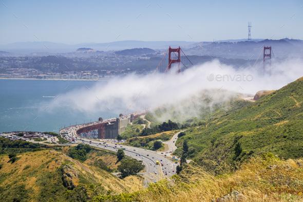 Golden Gate bridge and highway 101, San Francisco bay area, California - Stock Photo - Images