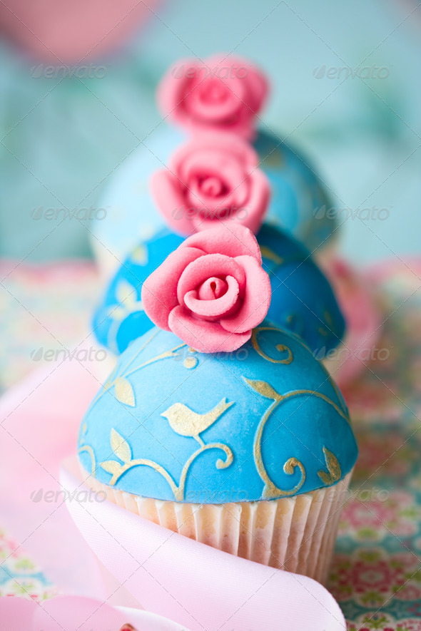 Vintage style cupcakes - Stock Photo - Images