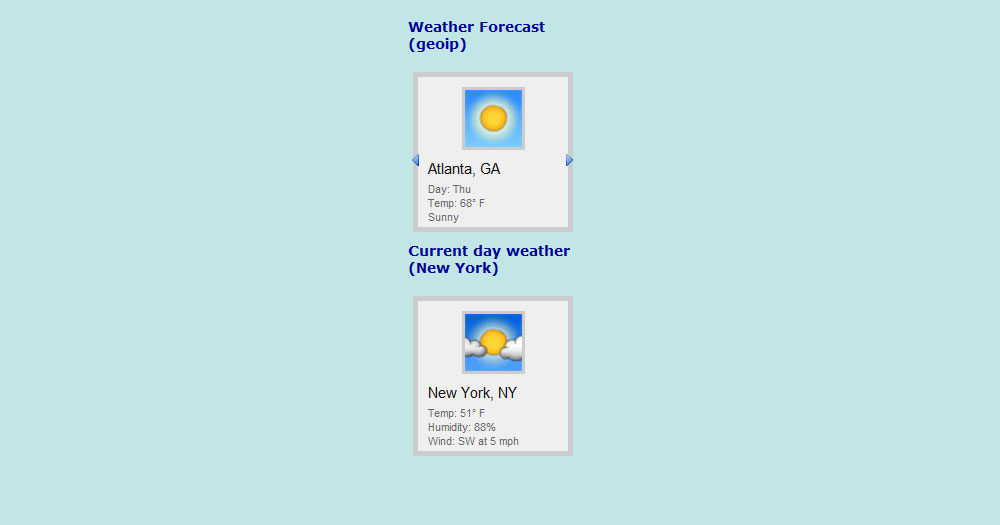 Weather Hero - GeoIP weather forecast widget - Examples