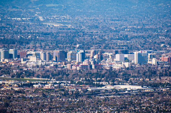 Aerial view of the buildings in downtown San Jose on a clear day; Silicon Valley, California - Stock Photo - Images