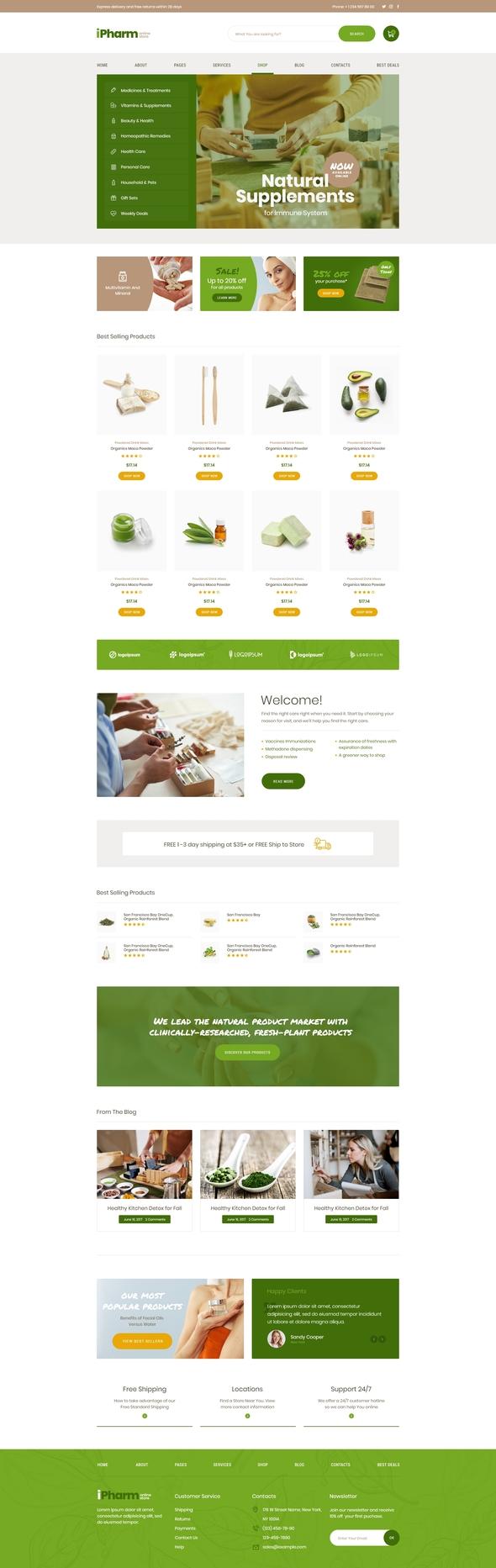 iPharm - Online Pharmacy Woocommerce Elementor Template Kit