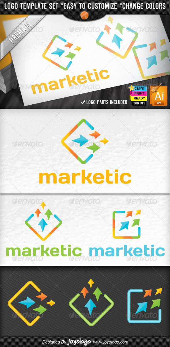 Pixel Arrows Growth Marketing Business Logo Design - Symbols Logo Templates