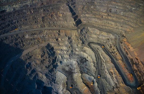 Aerial view of southern mining factory, mine quarry in Ukraine - Stock Photo - Images
