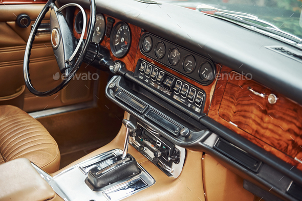Close up view of front part of luxury old retro automobile - Stock Photo - Images