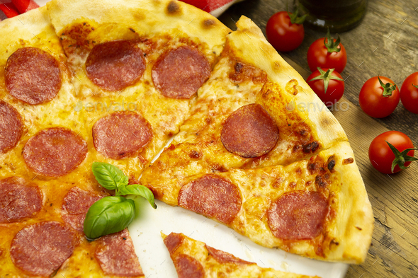 Pizza Pepperoni, top view - Stock Photo - Images
