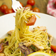 Fork with Creamy Lemon Salmon Pasta - PhotoDune Item for Sale