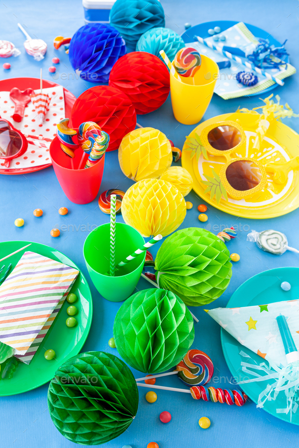 Colorful table setting for a party - Stock Photo - Images