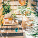 Eco friendly bamboo terrace. Orange pillows on the floor. - PhotoDune Item for Sale