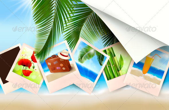 Background with photos from holidays on a seaside  - Travel Conceptual
