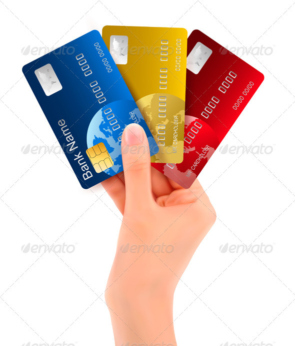 Male hand showing credit cards  - Concepts Business
