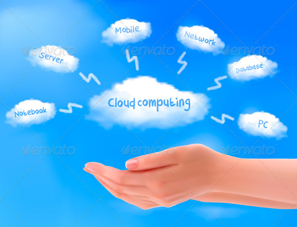 Cloud computing concept. Hands with blue sky - Computers Technology