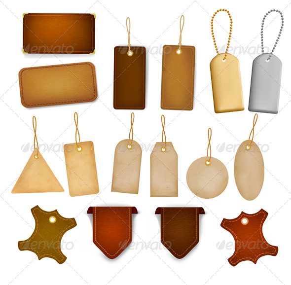 Big set of leather labels and tags. - Decorative Symbols Decorative