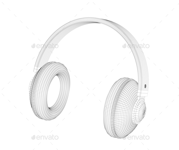 3D model of headphones - Stock Photo - Images