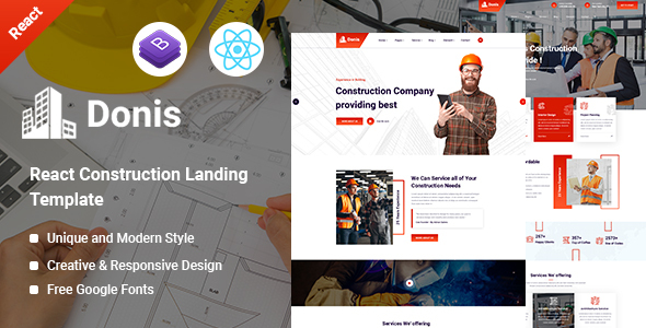 Donis - Construction React Template