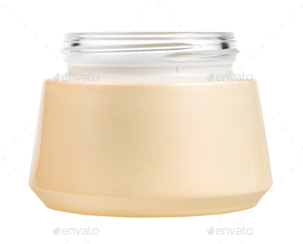 side view of open shiny jar for cosmetic cream - Stock Photo - Images
